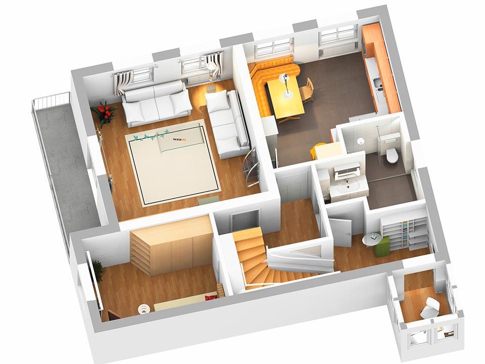 Der 3D-Plan vom Obergeschoss