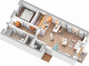 3D-Plan rechte Wohnung
