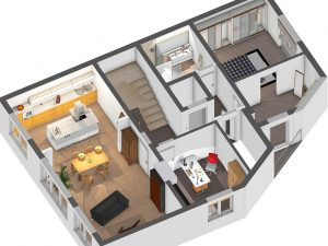 Der 3D-Plan, mit dem wir die Umbauten vorab visualisieren können
