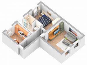 3D-Plan - großzügiger mit nur noch zwei großen Zimmern