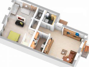 3D-Plan der linken Wohnung